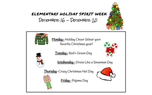 Elementary Holiday Spirit Week