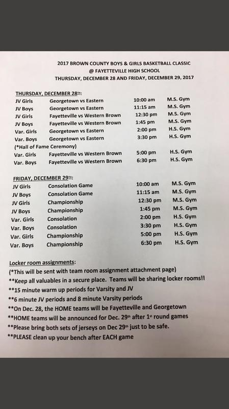 Brown County Holiday Tournament Information